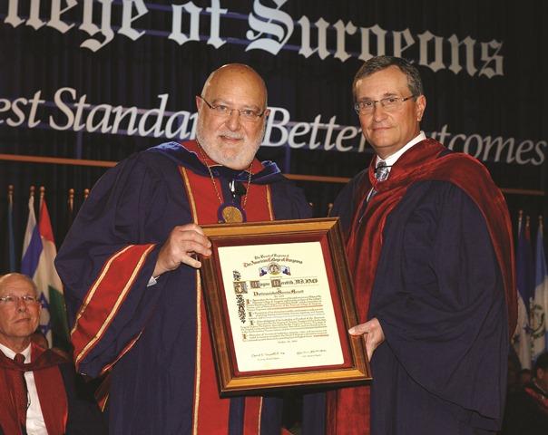 Dr. Meredith receives ACS award from Dr. Carlos A. Pellegrini 2014