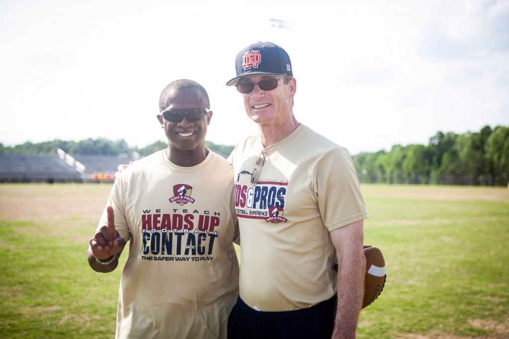 buddy curry bobby cutler atlanta falcons kids and pros heads up youth football safety clinic