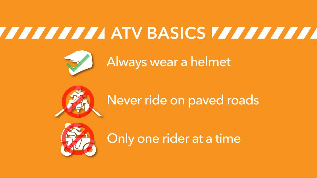 ATV basics wear a helmet never ride on paved roads only one rider at a time
