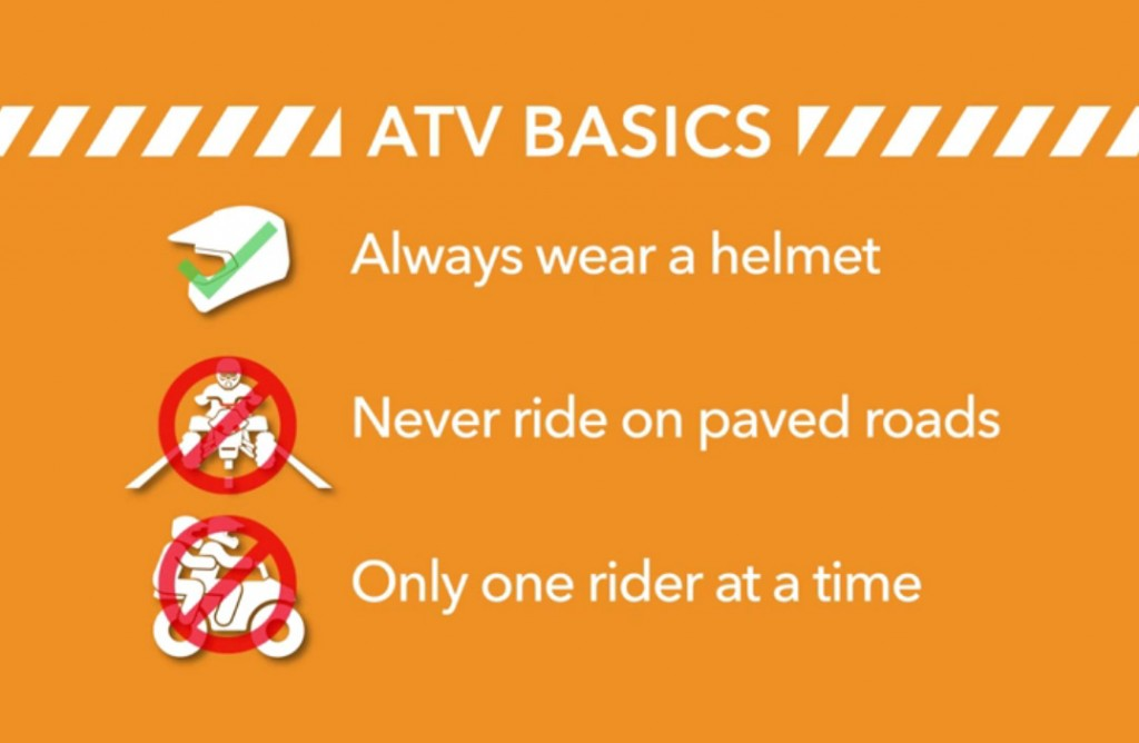 ATV basics always wear a helmet never ride on paved roads only one rider at a time