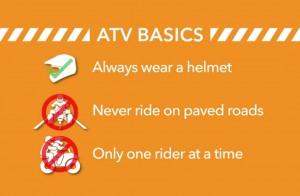 atv basic always wear helmet never ride paved roads only one rider at time all terrain vehicles