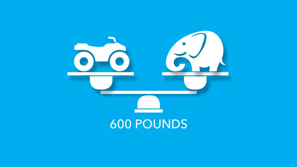 ATVs weigh 600 pounds like a baby elephant