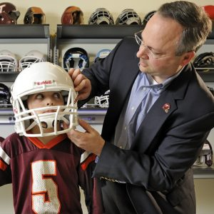 stefan duma pediatric trauma research helmet rating system virginia tech wake forest baptist child youth football head impact